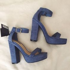forever 21 heels Forever 21 blue suede platforms. SZ 5.5. Brand new with tags still attached. Forever 21 Shoes Platforms