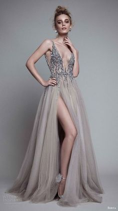 Charming Slit Prom Dress New Fashions Grey Tulle Evening Dress Elegant Prom Gowns for 2017 Spring Teens