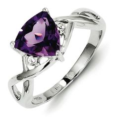 Sterling Silver Rhodium Plated Amethyst White Topaz Trillion Ring - 1.72 cwt - Size 9, Women's