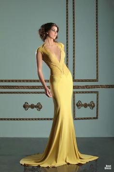 Mireille Dagher Haute Couture SP/SU 2013 #gown #dress #yellow #mustard