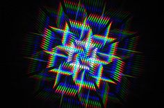 White LEDs from an infinity mirror, photographed through a diffraction grating slide