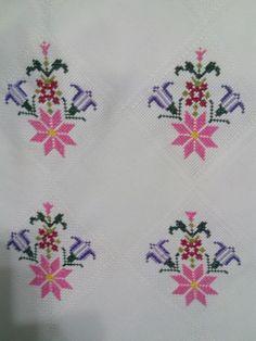 Kaneviçem el emeği göz nurum Cross Stitch Patterns, Embroidery, Carpet Runner, Cross Stitch Alphabet, Embroidered Towels, November Born, Cross Stitch Embroidery, Craft, Crochet Doilies