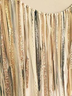 Gold, Silver, Champagne, Rose Gold, Sequin & Lace Ribbon Sparkle Curtain, Wedding Garland - Backdrop - Rustic Chic - 3ft X 7ft