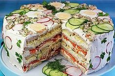 Festliche Sandwichtorte Festive sandwiches, a great recipe from the cheese category. Party Finger Foods, Party Snacks, Sandwich Torte, Great Recipes, Favorite Recipes, Party Buffet, Wrap Sandwiches, Food Lists, High Tea