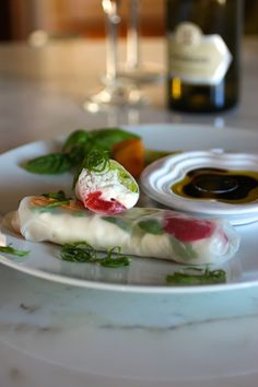 """End of Summer Rolls"" Caprese-Style (tomato, burrata cheese, basil, rice noodles) #SummerSoiree"