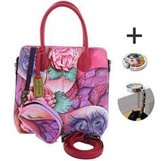 Anuschka Genuine Leather Medium Zipped Hobo Hand Painted Rosy Reverie * More info could be found at the image url.Note:It is affiliate link to Amazon.