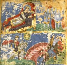 Miniatura iluminada de las Homilías de Gregorio Nacianceno. Constantinopla s.X. Renacimiento macedónico. Recuperación del lenguaje formal clásico.