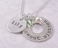 SWEET SIXTEEN - hand stamped sterling name and birthstone bead with pearl necklace on Etsy, $45.00