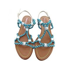 Pre-owned Visconti & Du Reau Sandals ($89) ❤ liked on Polyvore featuring shoes, sandals, leather shoes, leather footwear, braided sandals, real leather shoes and woven leather sandals
