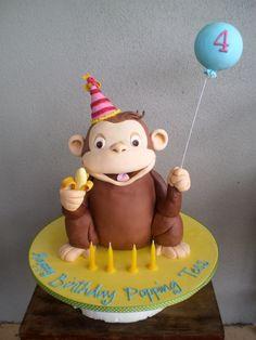 Curious George Cake…I love Curious George! Cake Cookies, Cupcake Cakes, Cupcakes, Cupcake Ideas, Curious George Cakes, Fondant, Biscuits, Movie Cakes, Animal Cakes