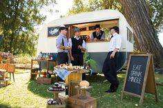 Food Trucks in NSW Australia. Love this idea. Catering and Alcohol service adding to charm and creativity of an outdoor wedding