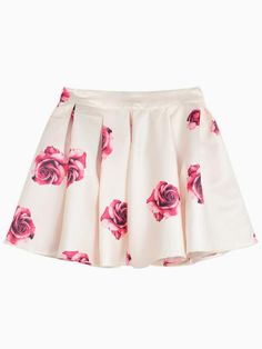 Red Rose Print Flare Mini Skirt in Pastel Pink | Choies