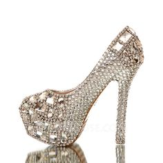 Wedding Shoes - $84.99 - Women's Real Leather Stiletto Heel Closed Toe Platform Pumps With Rhinestone (047054795) http://jjshouse.com/Women-S-Real-Leather-Stiletto-Heel-Closed-Toe-Platform-Pumps-With-Rhinestone-047054795-g54795