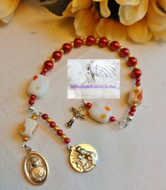 Divine Mercy Chaplet/Prayer Beads/Red Gold and White/Charms/Crucifix/Christ/Madonna with Child/Saint Faustina/Catholic/Handmade  DMC#581 by Justmyhands1Rosaries on Etsy