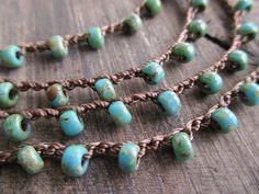 Crochet wrap bracelet necklace Rustic Turquoise by slashKnots