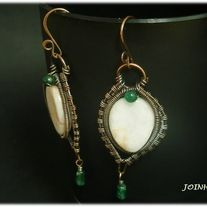 """Copper wire wrapped earrings with red line marble and aventurine beads  Height - 2 1/2""""  Length - 1"""""""