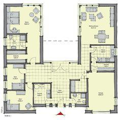 Grundriss bungalow mit integrierter garage  Massivhaus Kern-Haus Bungalow Fokus Grundriss Erdgeschoss ...
