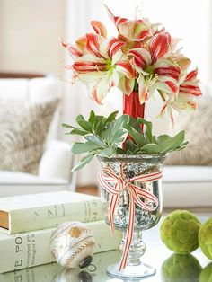 Amaryllis Care and Decorating Ideas for Christmas.  I may be the only one who did not realize it, but Amaryllis are seen as Christmas flowers and often given as gifts. Since Mr. Buck loved them, that might be great!