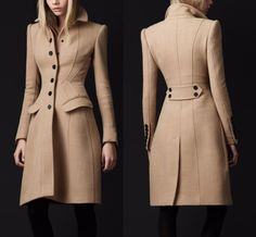 Pretty lines! Burberry Prorsum Light Brown Virgin Wool Sculpted Wasp Waist Princess Coat IT 40 Burberry Coat, Burberry Prorsum, Coats For Women, Clothes For Women, Mode Mantel, Tailored Coat, Fashion Outfits, Womens Fashion, Fashion Trends
