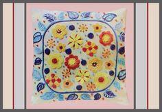 *VERY VINTAGE CREWEL* 1970 Creative Stitchery * FLOWER PILLOW COVER * Kit #CREATIVESTITCHERY