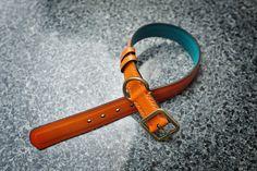 Dominique Saint Paul. Custom made dog collar. Hand coloured in Hermes orange.