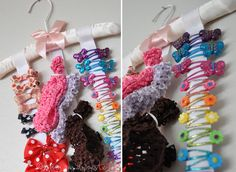Hair bow organizer made from a hanger and ribbons.