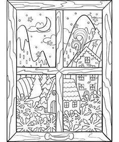 Cabin Fever Coloring Page Printable Adult Coloring Pages, Coloring Book Pages, Coloring Pages For Kids, Unique Coloring Pages, Kids Coloring, Christmas Colors, Christmas Crafts, Christmas Coloring Sheets, Christmas Drawing