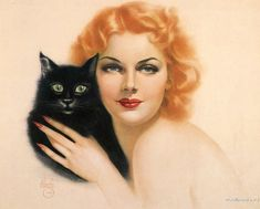 Cats in Art and Illustration: Alberto Vargas. Woman and cat. Vintage.