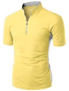 Men's Coolmax 2 Tone China Short Sleeve T Shirt MUSTARD X...