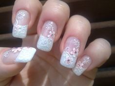 45 Gorgeous French Nails With Flowers In 2018 – Page 29 – BeautyPlus Bridal Nails Designs, Red Nail Designs, Wedding Nails Design, Nail Designs Spring, Nail Wedding, Wedding White, Wedding Art, Wedding Manicure, Wedding 2017