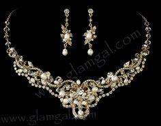 Gold bridal brow band / forehead band / crystals, freshwater pearls
