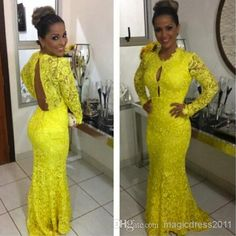 Discount 2014 Vestido De Noiva Sexy Backless Bright Yellow Prom Evening Dresses with Long Sleeve Mermaid Party Formal Pageant Gowns Custom Made Online with $103.67/Piece   DHgate