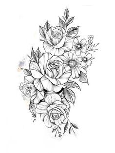 Blumen-Tattoo-Design – T A T O O S & P E R C I N G S – BlumenTattooDesi … Tattoo flowertattoos - flower tattoos - flower tattoos - Quinoa Recipes Mom Daughter Tattoos, Tattoos For Daughters, Mom Tattoos, Body Art Tattoos, Small Tattoos, Sleeve Tattoos, Tattoos For Guys, Tattoos For Women, Modern Tattoos