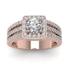 2 Carat Engagement Ring with White Diamond in 14K Rose Gold | Triple Row Diamond Engagement Ring | Fascinating Diamonds
