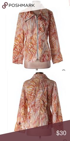 Chico's Orange Leaf Print Spring Jacket Sz Small Excellent condition! Thank you for looking! Size 1 is equal to size small conventional Chico's Jackets & Coats Trench Coats