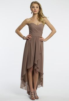 Camille La Vie Strapless Chiffon High Low Grecian Prom Dress
