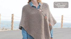 This Crochet Poncho is a great beginner project using basic stitches, making it a great poncho to work on when you don't want to have to focus. Crochet Poncho Patterns, Knitted Poncho, Crochet Scarves, Crochet Crowd, Free Crochet, Knit Crochet, Prayer Shawl, Bell Sleeve Top, Stitch