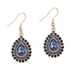 Boucles d'oreilles pierres facettées bleues