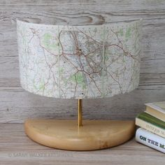 Wide half lamp with vintage OS map of Oxford by Sarah Walker