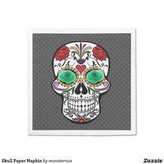 Skull Paper Napkin #Skull #Holiday #Halloween  #Home #Decor #Flower #Rose #Napkin