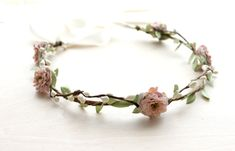 Dusty Rose Floral Crown Wedding, Flower Crown. Woodland,summer, dusty rose, pink floral crown, Boho, Bridal, Hair Accessories, on Etsy, $45.00