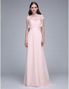 Lanting Bride® Traîne Brosse Mousseline de soie Robe de Demoiselle d Honneur  Fourreau   Colonne Coeur avec Dentelle 290677a5eed6