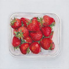 These strawberries look so realistic that at first I thought this was a photograph instead of a painting