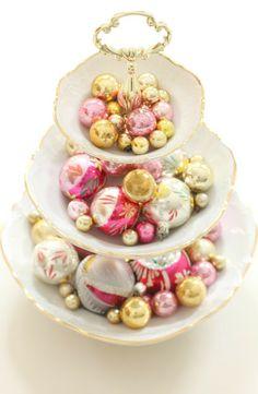 Sparkly baubles in pink & gold by citrusandorange