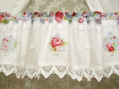 Curtains – Shabby chic Vintage Rose Blau Landhaus Gardine 239 – a unique product by bluebasar on DaWanda
