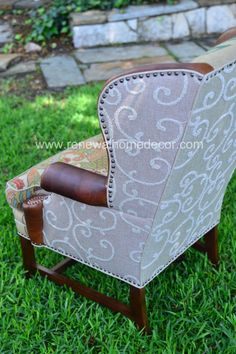 SOLD!! While these custom wing backs were custom made for Bethany, other similar frames and fabric combinations are available for custom order. Let me know if I can create a custom chair for you!  These amazing wingbacks have been transformed with two coordinating Clean Coffee burlap sacks, swirl texture, rich brown leather wings and arms and beautiful damask seat cushion. Arms and bottom edge are highlighted by antiqued tacks and linen welting. $1499 each + $250 shipping each