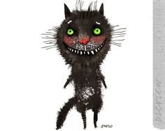 The black cat with green eyes original painting by ozozo by ozozo, €40.00