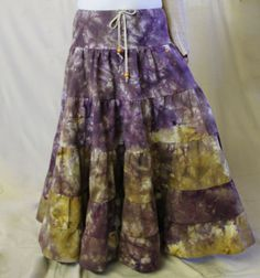 Batik tiered skirt with ruffles