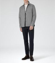 Mens Grey Button Shacket - Reiss Sidney