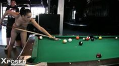 Check out this naughty amateur brunette naked in a bar, she walked in naked in just a set of flip flops on a dare and she is going to show these guys how play with the balls on the table. She gets in all her favorite shooting positions and shows off all her trick shots for these guys.
